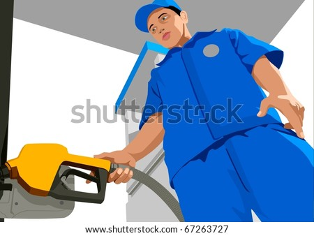 Stock vector of a person filling up a fuel tank - stock vector