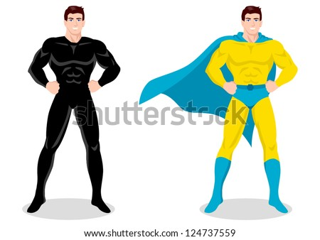 Stock vector of a superhero posing - stock vector