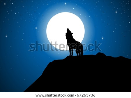 Stock vector of a wolf howling at the full moon - stock vector