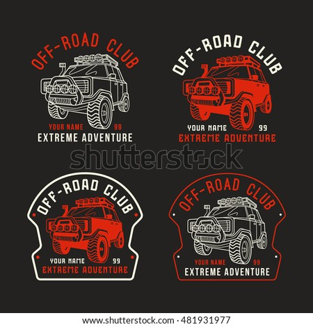 Stock vector off road club emblem sticker design for your car color print
