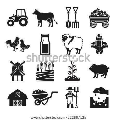 Stock vector pictogram farm black icon set - stock vector