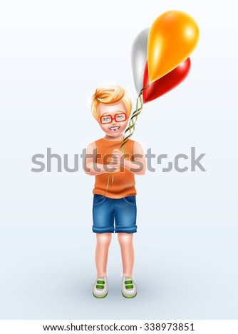 Stock vector realistic isolated illustration boy in orange t-shirt, blue jeans shorts holding colorful balloons and smiling from ear to ear - stock vector