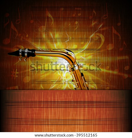 Stock Vector Saxophone close up on music sheet with shine and note signs. - stock vector