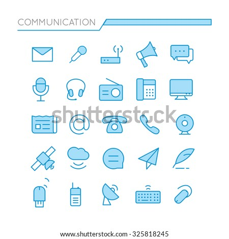 Stock Vector Set of Flat thin line Colored Communication Icons Vector Illustration