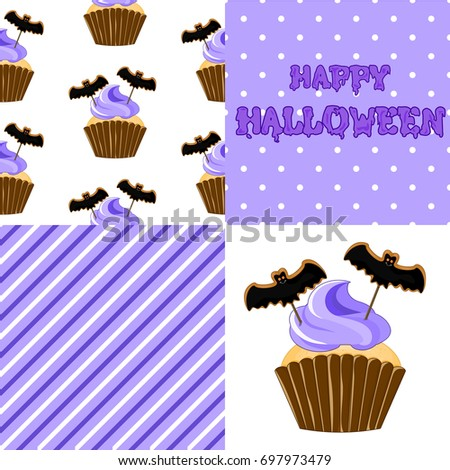Stock vector. Sweet cupcake on the occasion of Halloween. Bat. Set for your design.