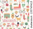 Stockholm concept seamless pattern in vector. House, church, gnome, birds, moose, bicycle, horse and other Stockholm symbols in bright colors.  - stock