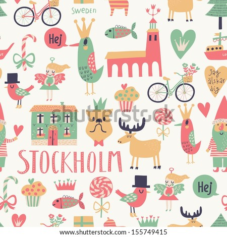 Stockholm concept seamless pattern in vector  House  church  gnome  birds   moose. Stylish Stockholm Concept Seamless Pattern Vector Stock Vector