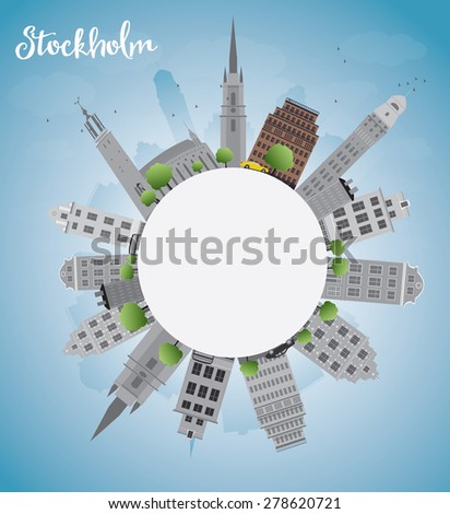 Stockholm Skyline with Grey Buildings and Blue Sky with copy space. Vector Illustration. Business travel and tourism concept with place for text. Image for presentation, banner, placard and web site.