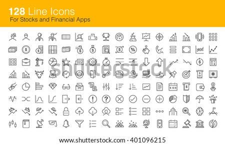 Stocks trading and Financial icon set for apps - stock vector