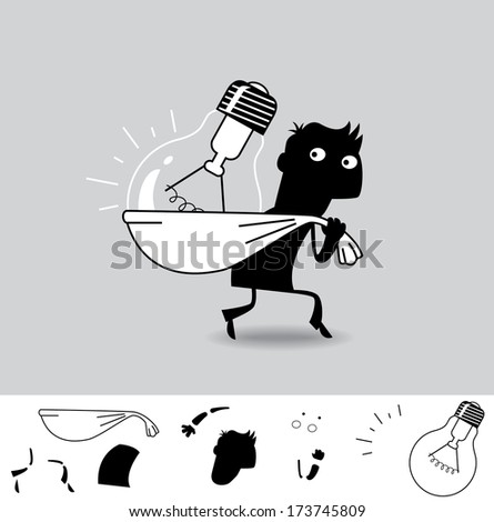 Stolen Idea. Business cartoon illustration (EPS 8). Animation friendly: the elements ( arms, heads etc) are in the separate layers. - stock vector