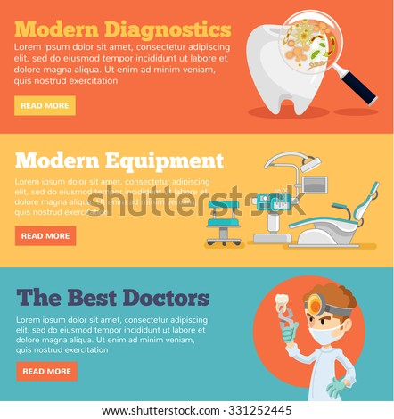 Stomatology horizontal banner set. Vector flat illustration - stock vector