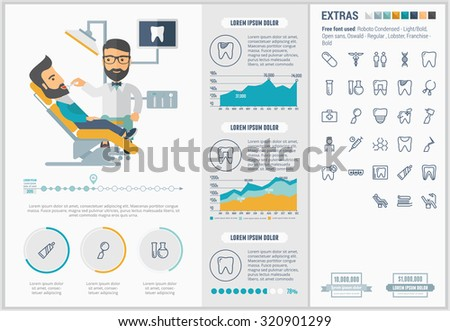 Stomatology infographic template and elements. The template includes illustrations of hipster men and huge awesome set of thin line icons. Modern minimalistic flat vector design. - stock vector