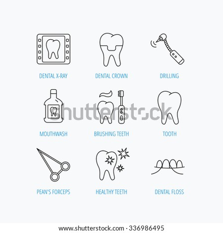 Stomatology, tooth and dental crown icons. X-ray, mouthwash and dental floss linear signs. Toothache, forceps icons. Linear set icons on white background. - stock vector