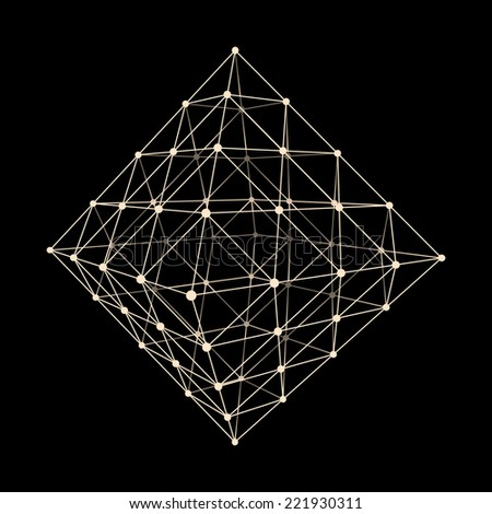 Stone. Abstract 3d vector background for business presentations. Polygonal network element. Asymmetric structure. Vector Illustration.   - stock vector