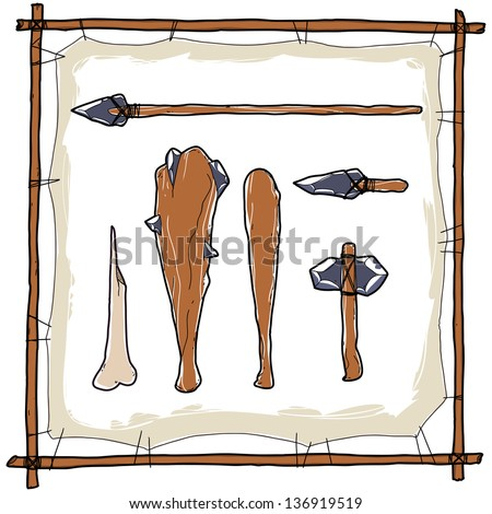 stone age caveman hunting weapons - stock vector