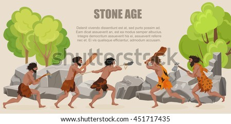 Stone age war primitive men tribes fighting. Barbarian Caveman warrior, ancient man with weapons - stock vector