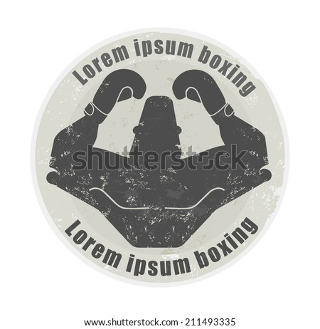 Stone athletic emblem with torso of huge, bald,  heavyweight boxer - stock vector