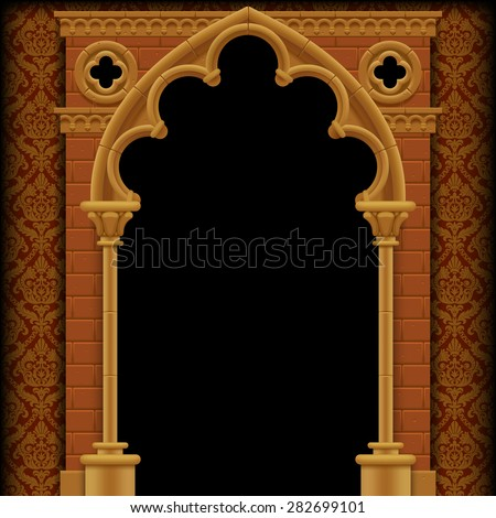 Stone Gothic gate and wall on classic background. Vintage architecture frame.  Vector Illustration - stock vector