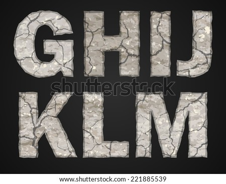 Stone letters set. Vector illustration. - stock vector