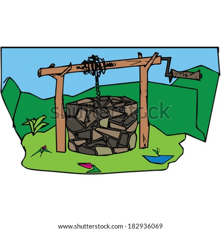 stone old well, vector illustration - stock vector
