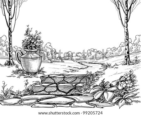 Stone Stairs Park Pencil Drawing Stock Vector 99205724