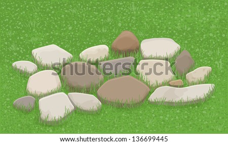 Stone walkway in the grass, illustration - stock vector