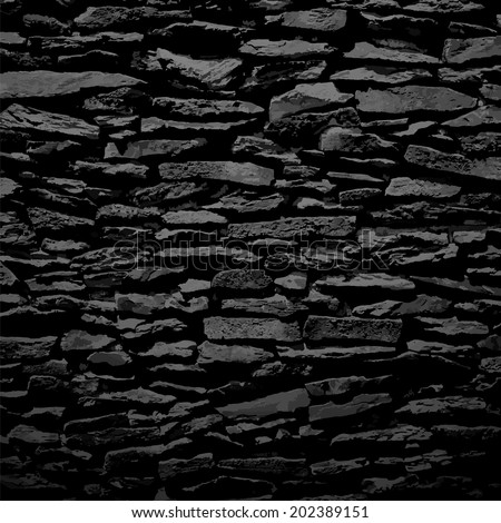 Stone wall, black relief texture with shadow, vector background illustration - stock vector