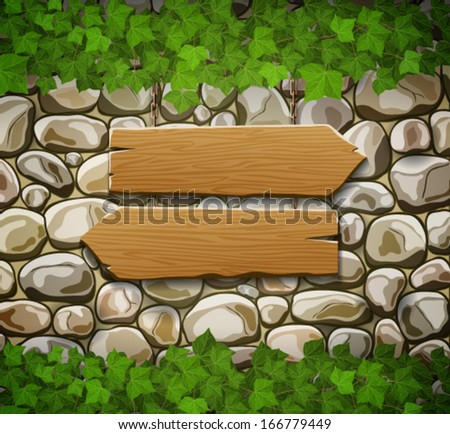 Stone wall with two wooden arrows and leaves - stock vector