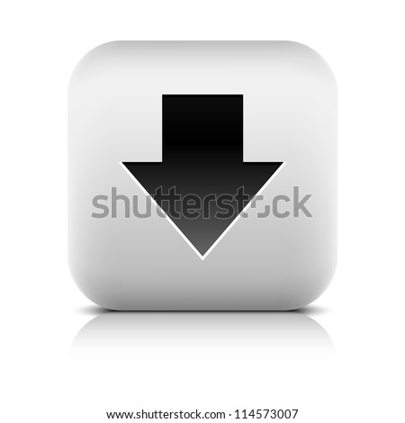 Stone web 2.0 button arrow sign download symbol. White rounded square shape with black shadow and gray reflection on white background. Vector illustration in wire mesh technique and saved in 8 eps