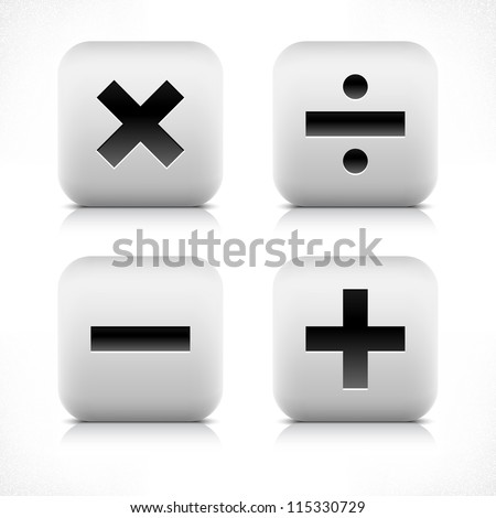 Stone web button calculator icon. Division, minus, plus, multiplication sign. White rounded square shape with black shadow and gray reflection on white background. Vector illustration saved in 8 eps - stock vector