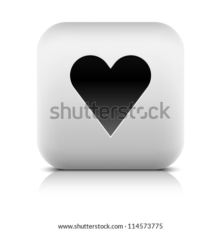 Stone web 2.0 button heart symbol favorite sign. White rounded square shape with black shadow and gray reflection on white background. Vector illustration in wire mesh technique and saved in 8 eps - stock vector