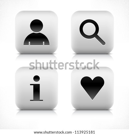 Stone web 2.0 button user, loupe, info, heart symbol sign. White rounded square shape with black shadow and gray reflection on white background. Vector illustration in wire mesh technique in 8 eps - stock vector
