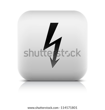 Stone web button with high voltage sign. White rounded square shape with reflection and shadow on white background. Vector illustration clip-art design element in 8 eps - stock vector