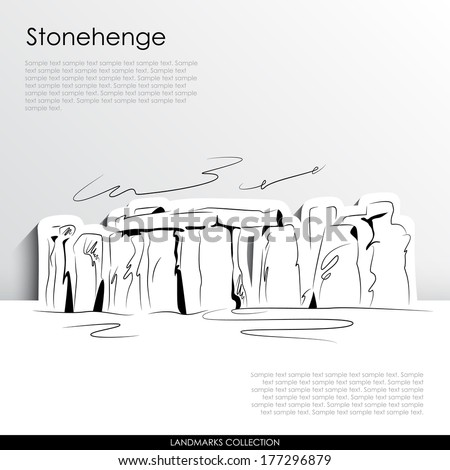 Stonehenge abstract silhouette on white paper background. Landmarks vector collection.