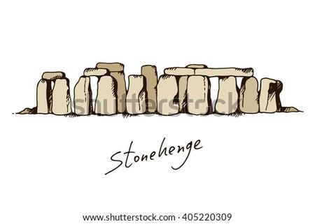 Stonehenge in Wiltshire, England vector color illustration. Landmark drawing sketch - stock vector