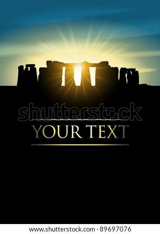 Stonehenge on midsummer solstice - stock vector