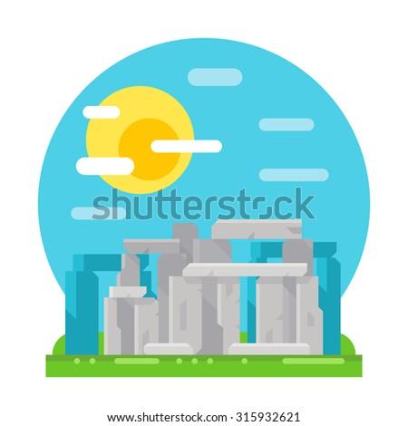 Stonehenge site flat design landmark illustration vector - stock vector