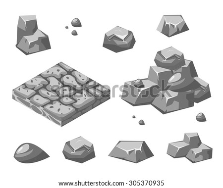 Stones and rocks in isometric 3d flat style - stock vector