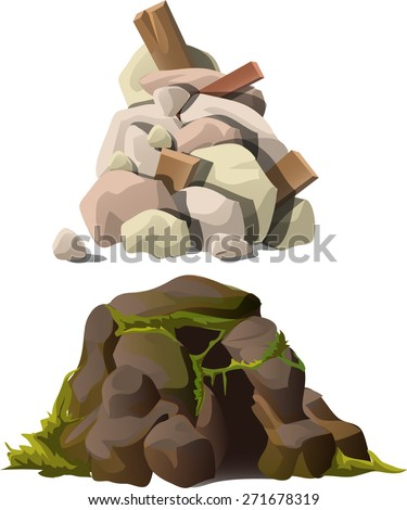stones with grass and fragments of wood products - stock vector