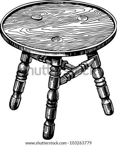 Stool made of natural wood