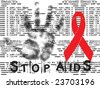 stop AIDS grunge background with hand and red ribbon - stock photo