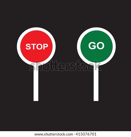 Stop and Go sign paddles, vector illustration.