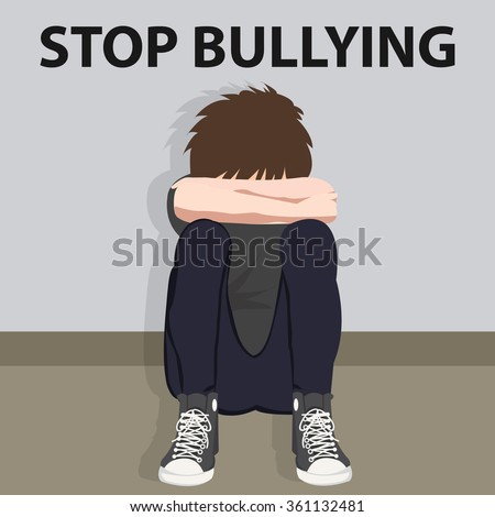stop bullying kids bully victim young child bullied  - stock vector