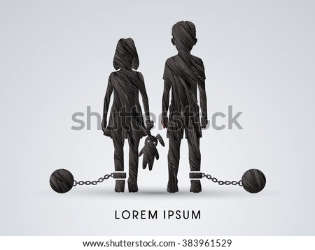Stop Child abuse ,Children with chain and ball designed using black grunge brush graphic vector. - stock vector