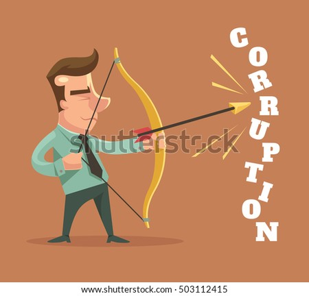 Stop corruption. Man broken corruption word. Vector flat cartoon illustration