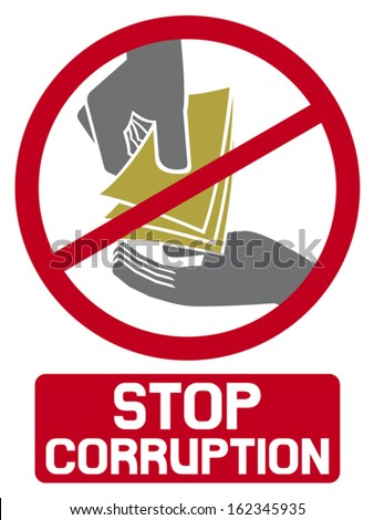 stop corruption sign (stop corruption symbol, hand giving money to other hand) - stock vector