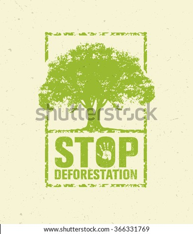Stop Deforestation Eco Green Banner. Organic Creative Vector Design Concept On Recycled Paper Background With Handprint. - stock vector