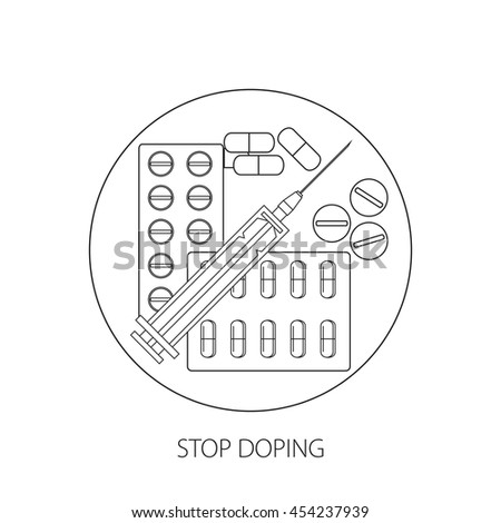 Stop doping. Propaganda poster or banner with the image of tablets, capsules and syringe. Vector illustration.