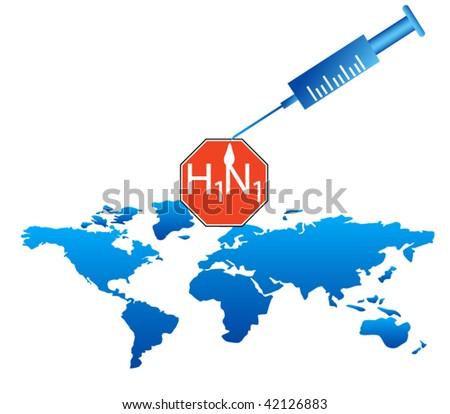 Stop h1n1 - stock vector
