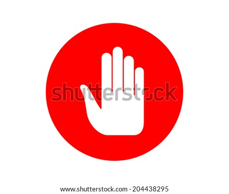 Stop hand sign. - stock vector